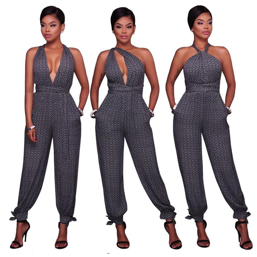 13c029f65294 VLEEGA Women Casual Grey Jumpsuit Sexy Deep V Neck Backless ...