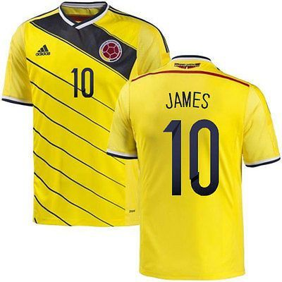 2c83840d4e6 ADIDAS JAMES RODRIGUEZ COLOMBIA HOME JERSEY FIFA WORLD CUP BRAZIL 2014 Play  in the same gear Los Cafeteros wear at home. This men's soccer jersey has  ...