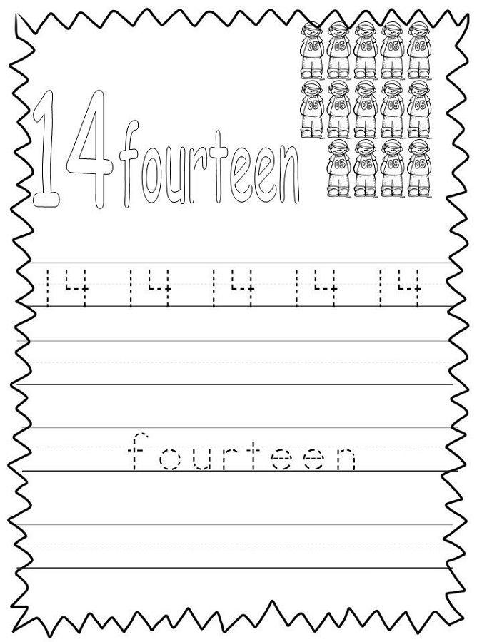 number 14 worksheet simple k5 worksheets alphabet and numbers learning kindergarten. Black Bedroom Furniture Sets. Home Design Ideas