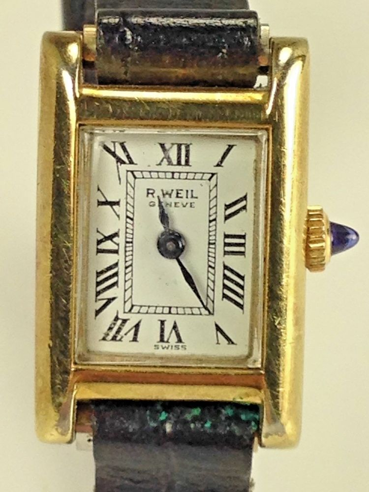 11e7aeb1980 Vintage Rare Raymond Weil Geneve18kt Gold Plated Womans Tank Watch 505