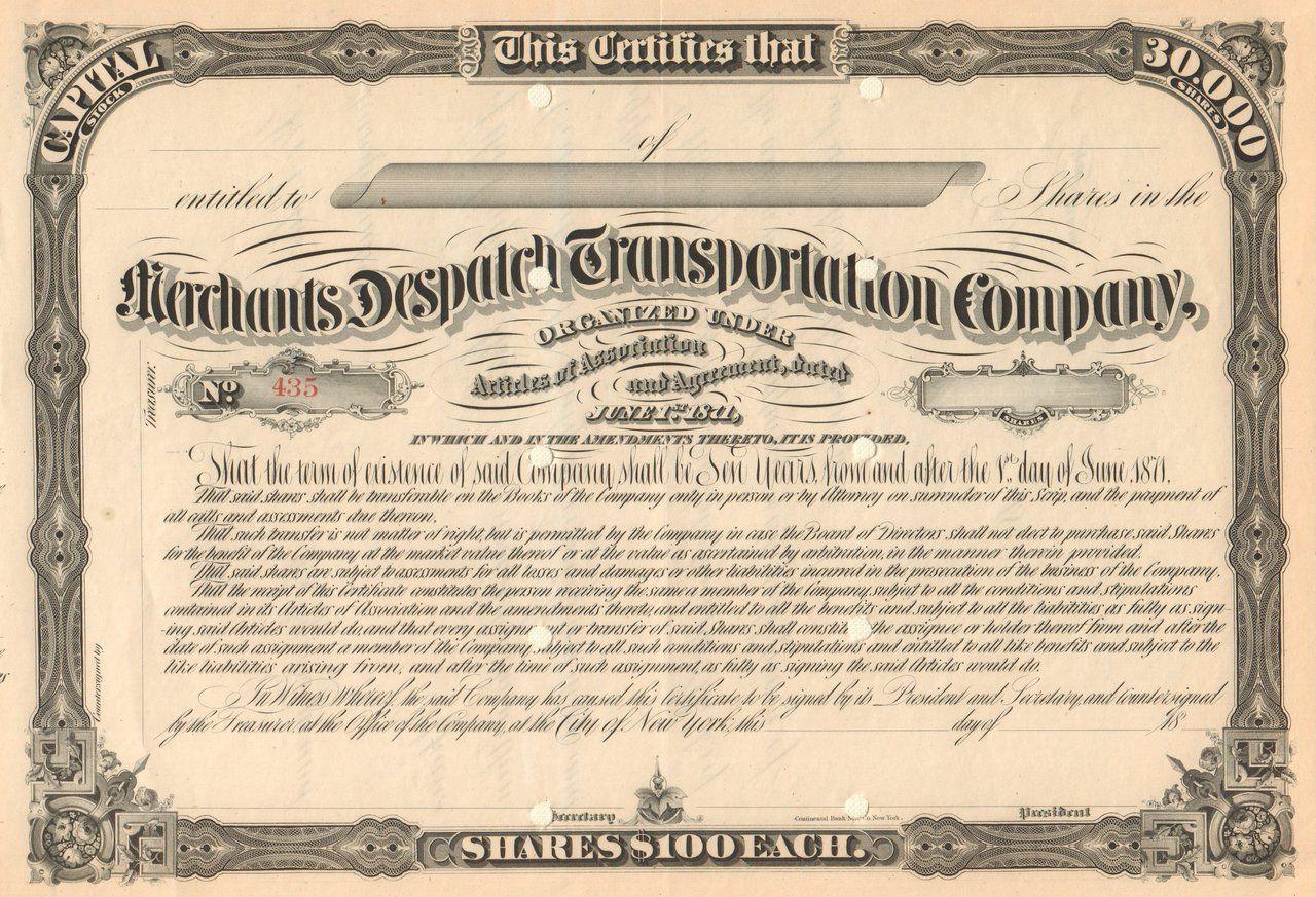 Merchants Despatch Transportation Company stock certificate circa 1871 (freight cars)