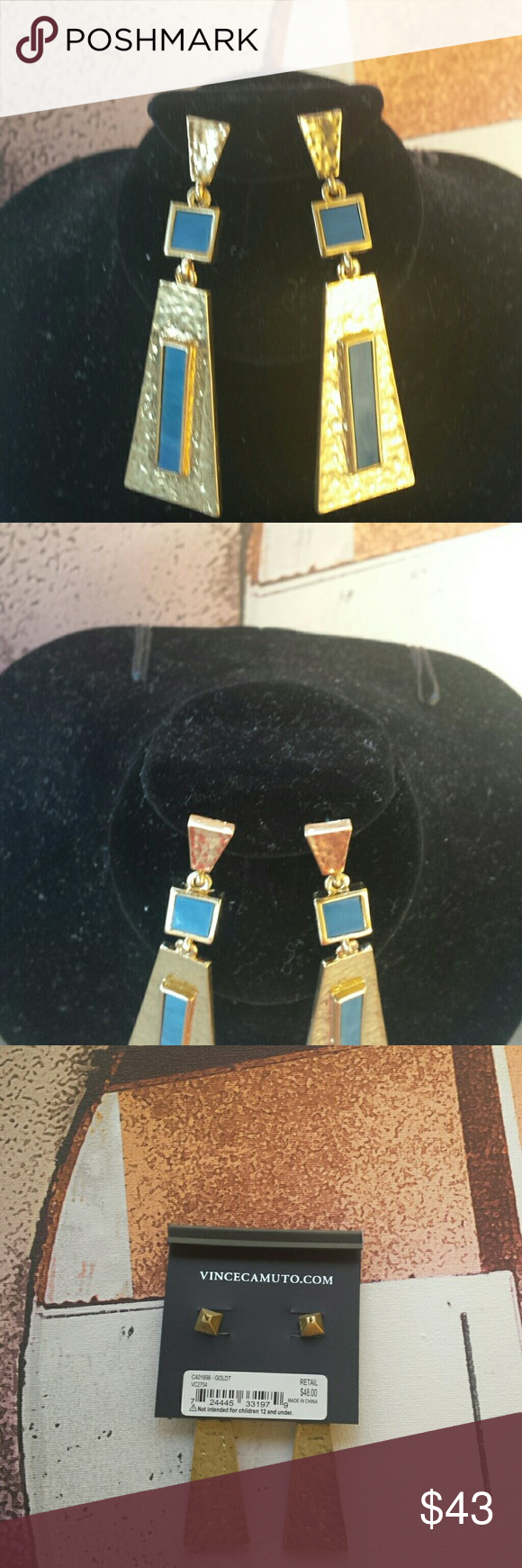 Bohemian Turquoise Triangle Earrings Pierced Triangle and gold pyramid with turquoise and unique shaped posts. Vince Camuto Jewelry Earrings