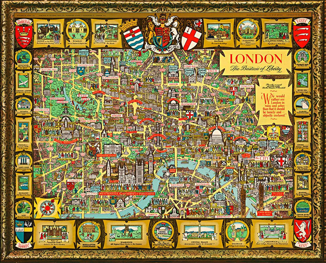 The Bastion of Liberty Vintage Wall Art Poster Pictorial Historical Map London