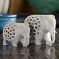 Soapstone 'Elephant Duet' Sculptures (Set of 2) (India) | Overstock.com Shopping - The Best Deals on Statues & Sculptures
