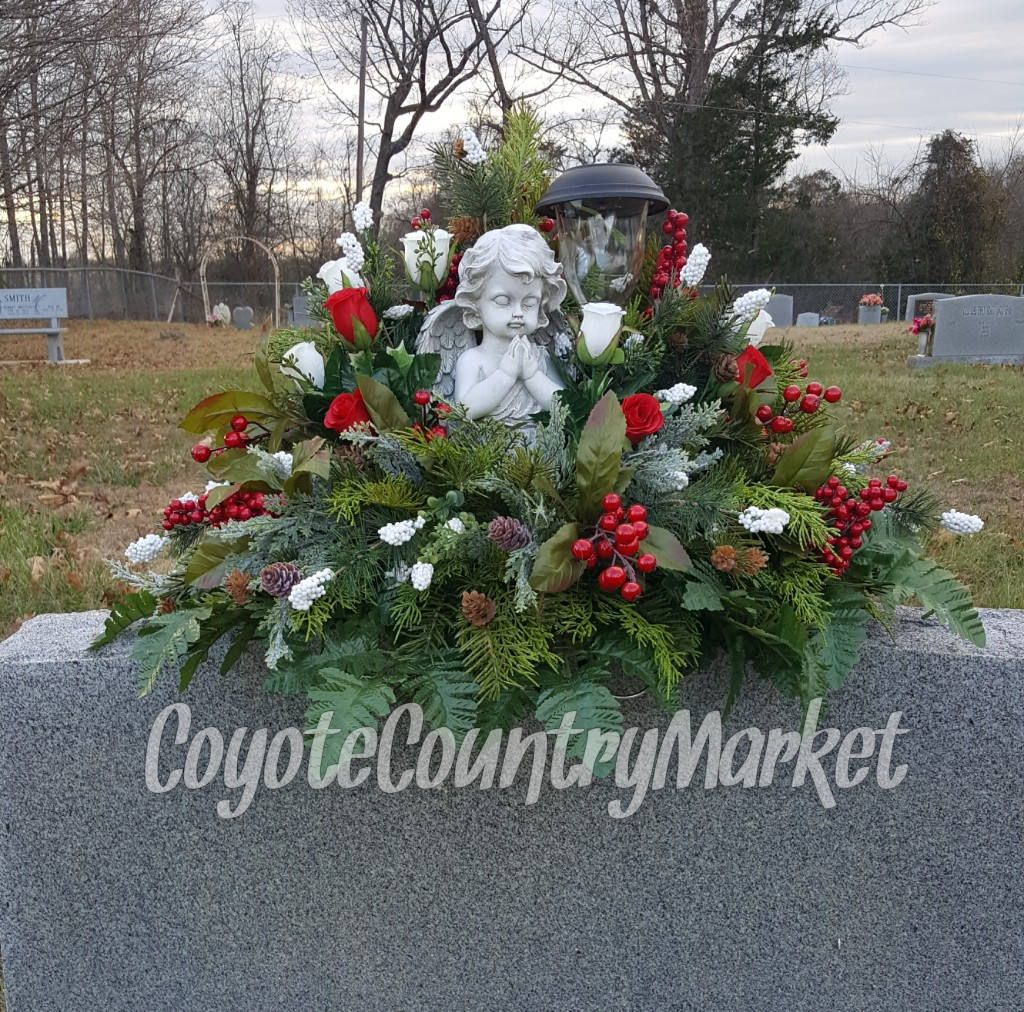 winter headstone saddle with solar light flowers for headstone grave decoration christmas grave - Christmas Grave Decorations