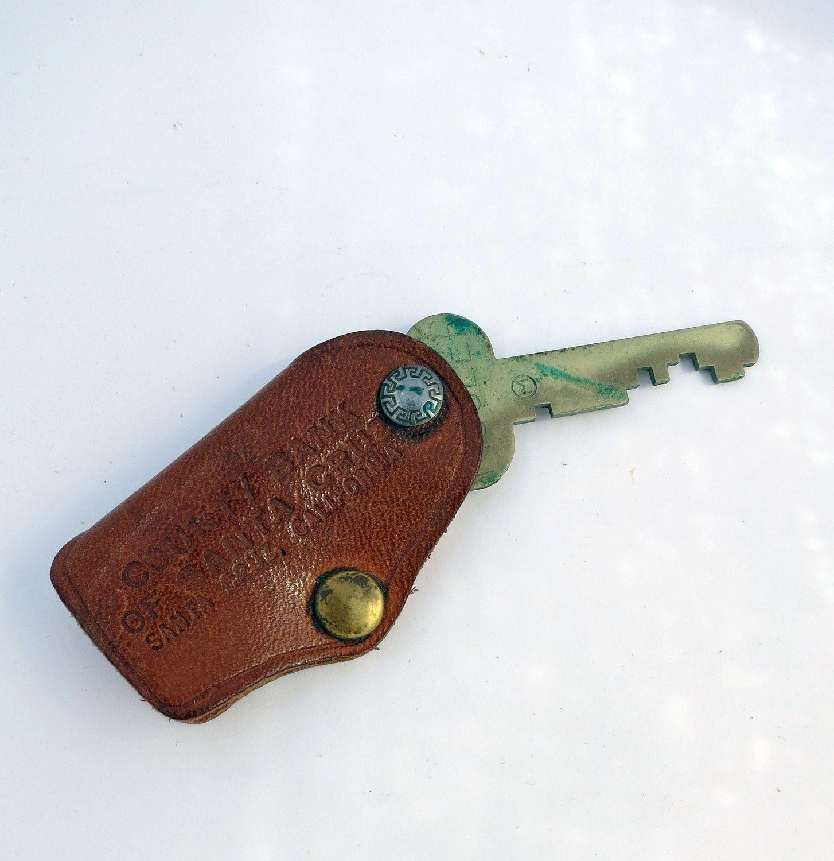 Leather Key Fob, Safe Deposit Box Key, Banking Key, Santa