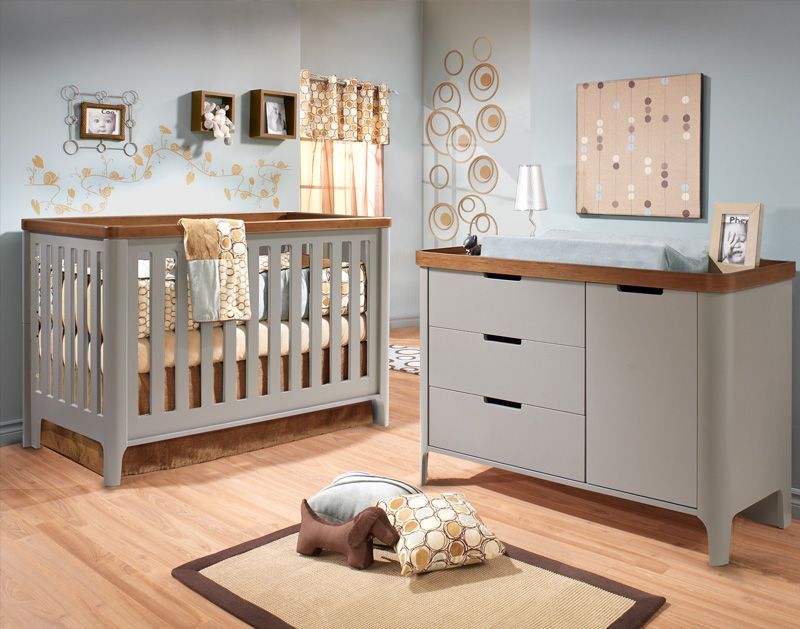 Tulip Piccolo Collection Clic Crib In Stone Grey And Walnut Cribs