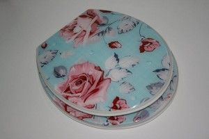 FUNKY SHABBY CHIC BLUE PINK VINTAGE FLORAL ROSE RESIN TOILET SEAT with ADJUSTABLE METAL HINGES