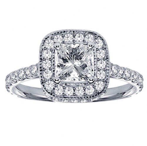 1.75 CT TW Pave Set Diamond Encrusted Princess Cut Engagement Ring in 14k White Gold - Listing price: $9,597.00 Now: $3,199.00