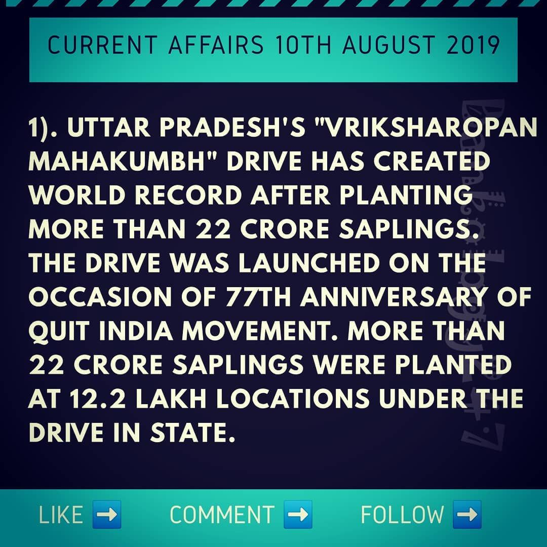 Current Affairs 10th August 2019 Do Follow Like Comment Share