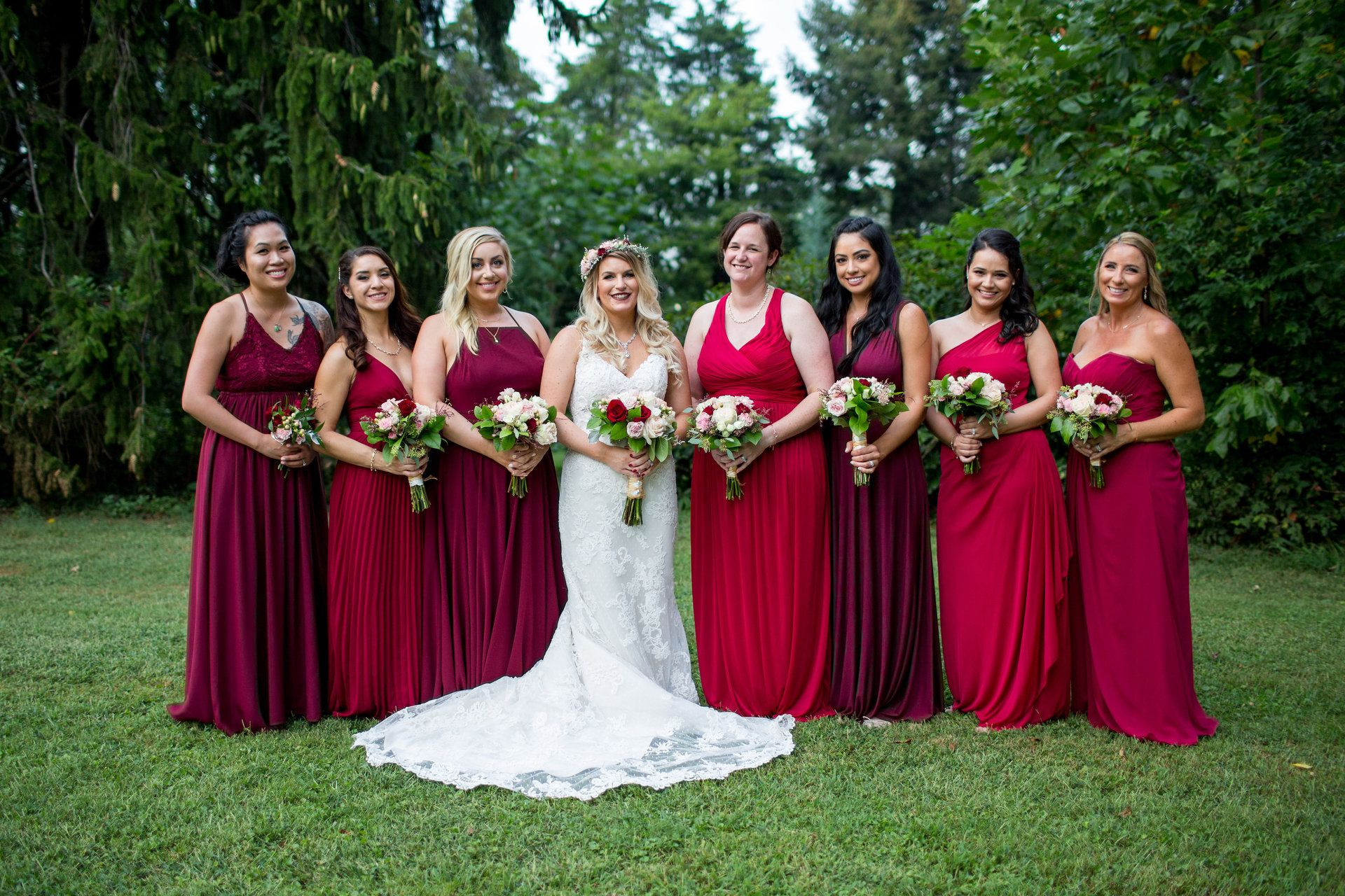 Outdoor celebration at greenock manor orange va wedding mismatched bridesmaids red burgundy wine anna bowser photography ombrellifo Gallery