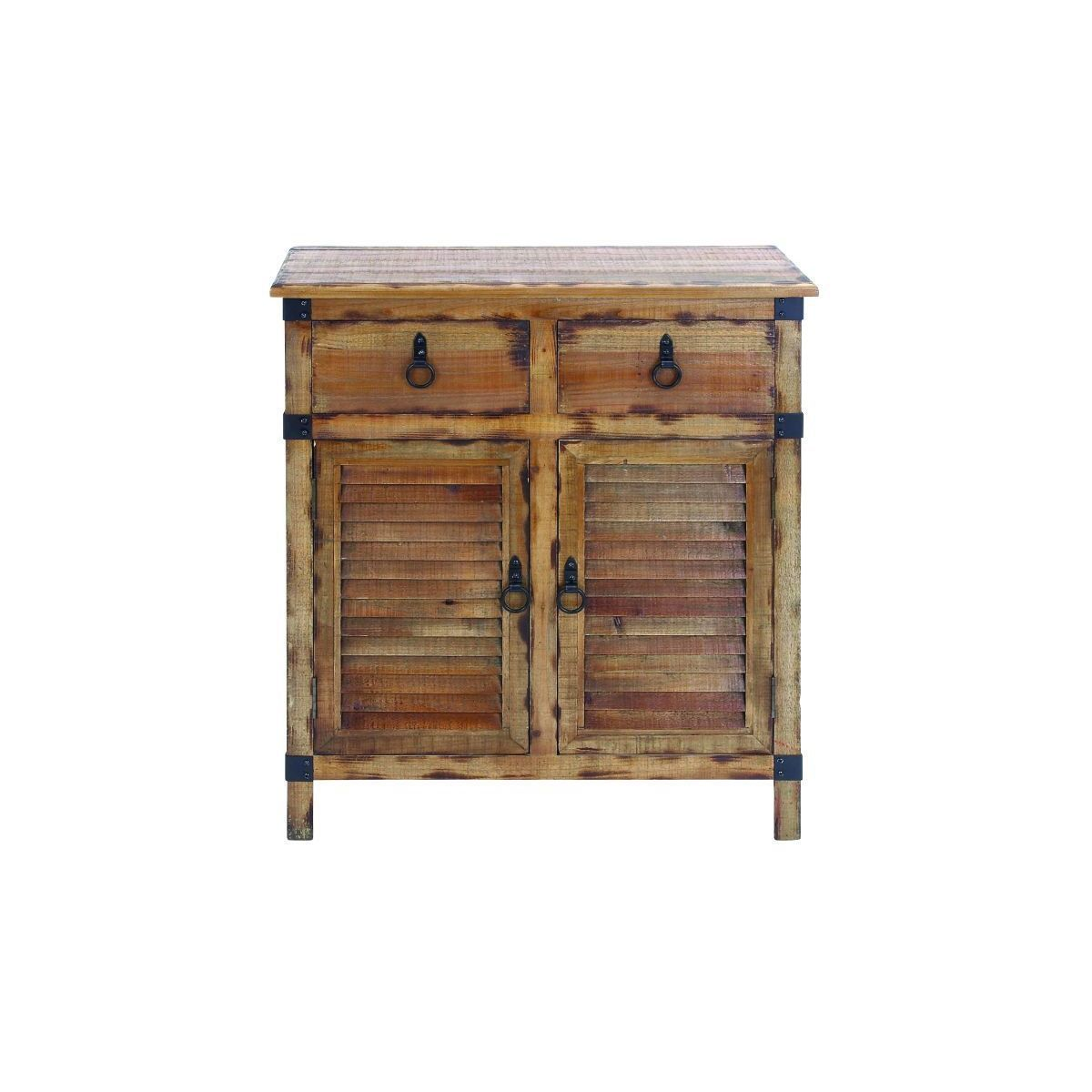 Studio distressed louvered wood cabinet wood cabinet