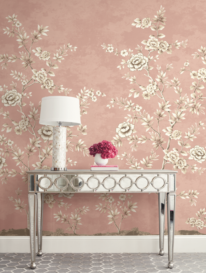 Pretty in Pink Chinoiserie Mural in soft pink from