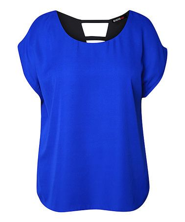 This Royal Blue & Black Reversible Boat-Neck Top - Plus is perfect! #zulilyfinds
