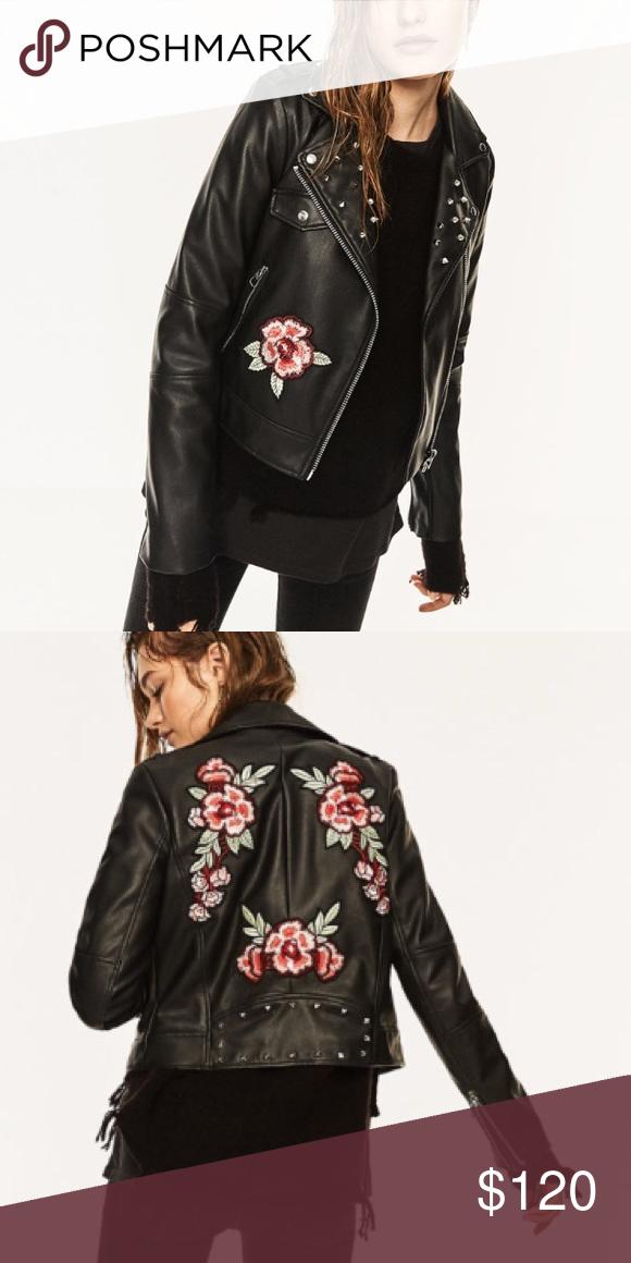 Nwt Zara Embroidered Studded Leather Jacket Nwt What Shall I Wear