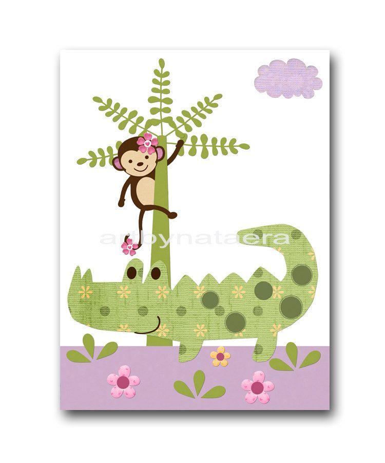 Nursery decor nursery Art crocodile