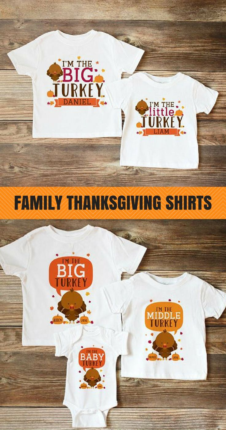 17f317f4d485 Matching Thanksgiving shirts for brothers and sisters - big turkey, middle  turkey, little turkey, baby turkey #thanksgiving #kids #siblings #shirts ...