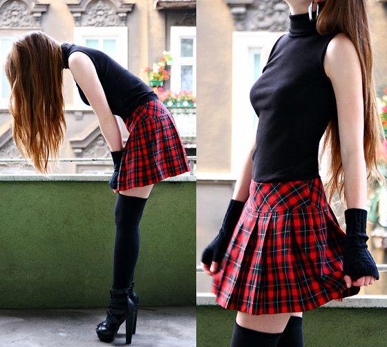adabafc44 Com Red Plaid Skirt, Arafeel.Com Black Arm Warmer, Arafeel.Com Black Long  Socks, Arafeel.Com Back Top, Arafeel.Com Clip On Earrings, Asos Leather  Heels