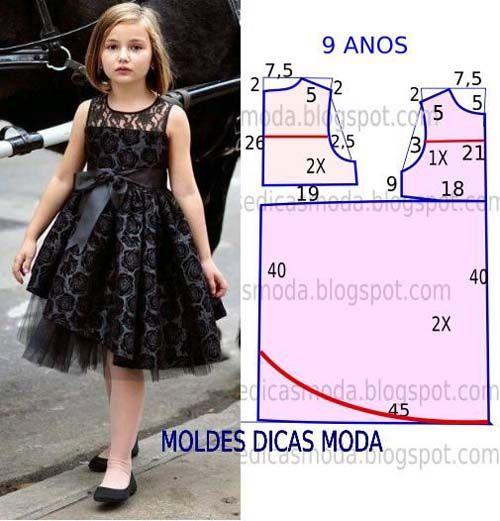 Patrones Gratis De Vetidos Elegantes Para Niñas Molde Vestido Niña Vestidos Para Niñas Moda Para Niñas