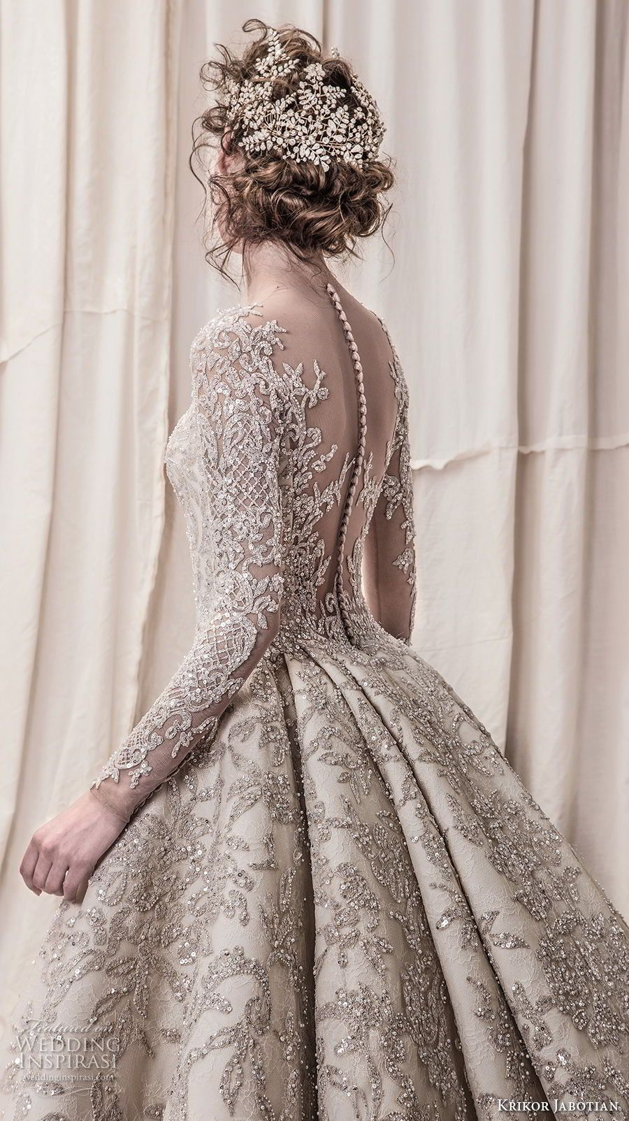 Krikor jabotian spring bridal long sleeves scoop neck full
