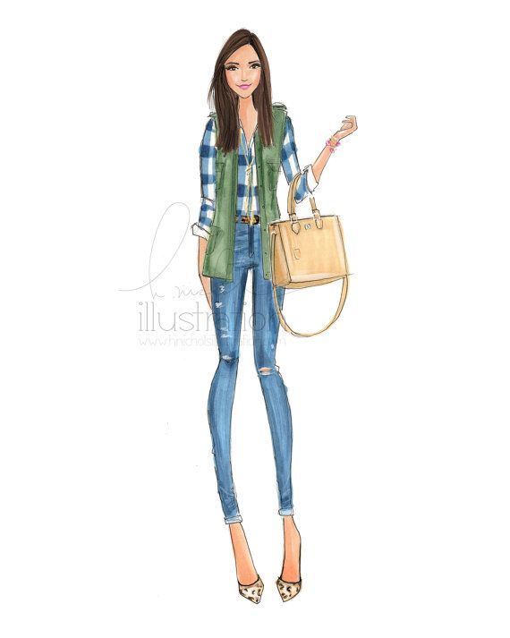 lauren blogger fashionista by hnillustration on etsy
