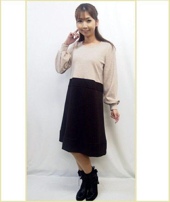 一点限りの特別価格『大人の女性のための心地よく美体型を実現する服』どんな年代の女性も品良くスッキリに魅せます。 柔らかく魅せるベージュとブラウンの大人バイカラ... ハンドメイド、手作り、手仕事品の通販・販売・購入ならCreema。