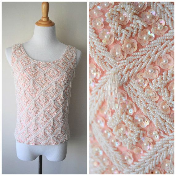 6498788b331cb 60s Diamond Harlequin Pink   White Beaded Fringe Iridescent Sequin Sweater  Blouse Tank Top    Burlesque Pinup Style