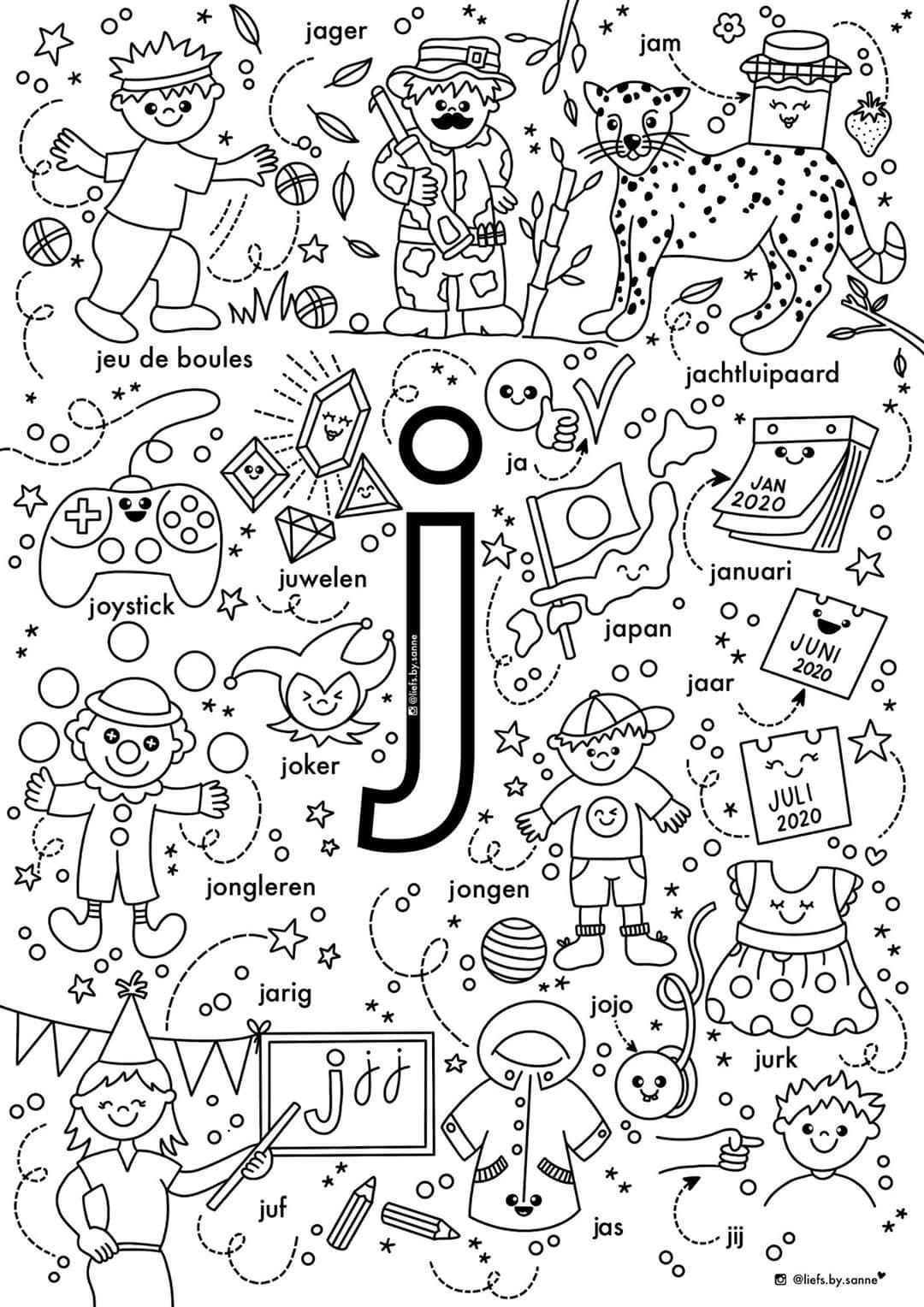 J Woorden Kleurplaat In 2020 Letterherkenning Spelletjes Letterherkenning Alfabet Kleurplaten