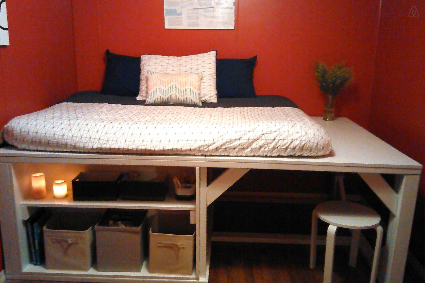 Loft bed with desk queen  This is the red room It has a semi loft bed for plenty of storage