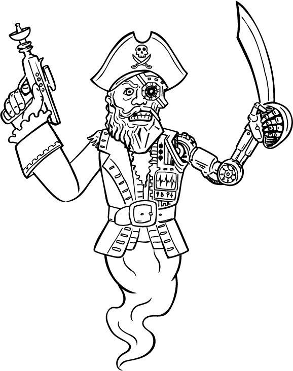 Cyborg Pirate Ghost! coloring page Halloween Pinterest - new coloring pages about science