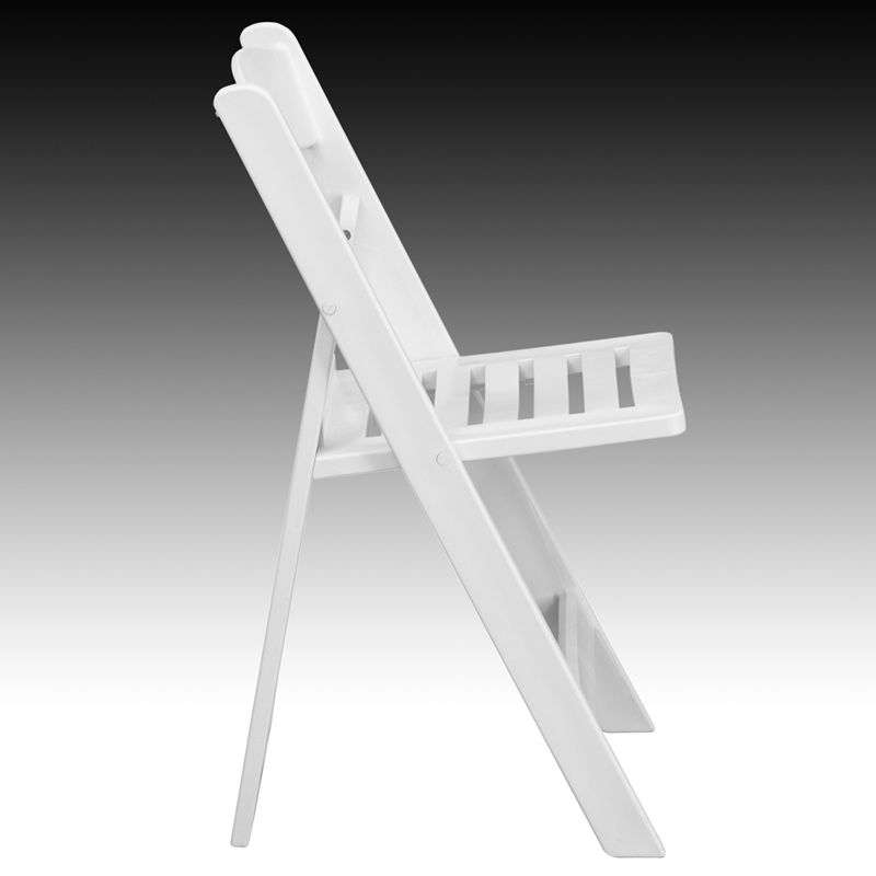 HERCULES Series 1000 Lb. Capacity White Resin Folding Chair With Slatted  Seat By Flash Furniture