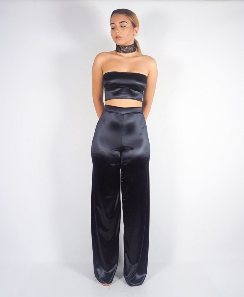 lia' black satin tube top pants set | dresses/play suits i want