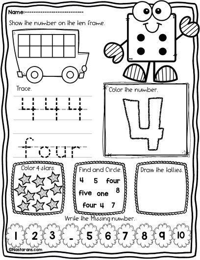 FREE Number 1-10 printable for kindergarten kids. It includes Drawing the tallies, tracing and writing numbers and number words, find the number, show the numbers on the ten frames and coloring. #kindergarten#number#tracing#math