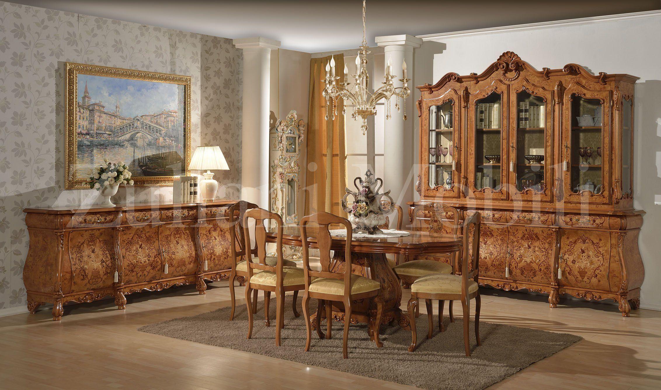Camera da pranzo in stile olandese in radica di pioppo con intarsi