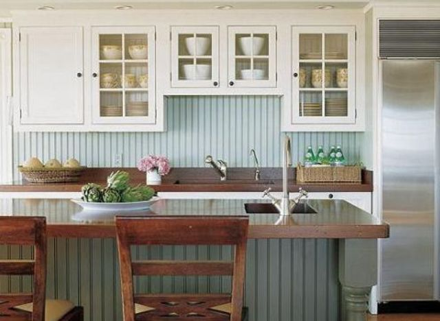 Green Beadboard Backsplash Echoes With The Kitchen Island Cover