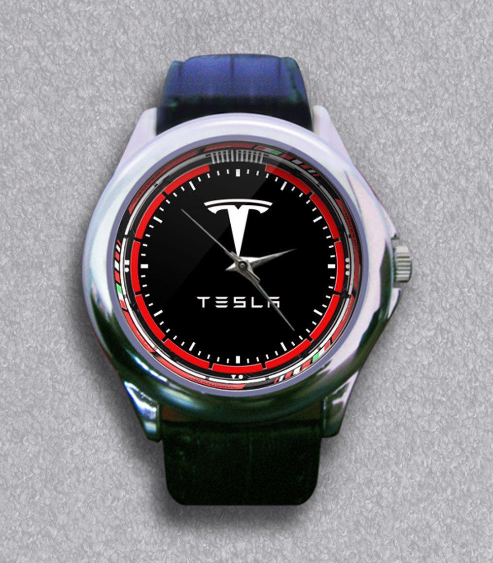 New Tesla Car Company Logo Leather Wrist Watch Tesla Car Company Tesla Car Leather