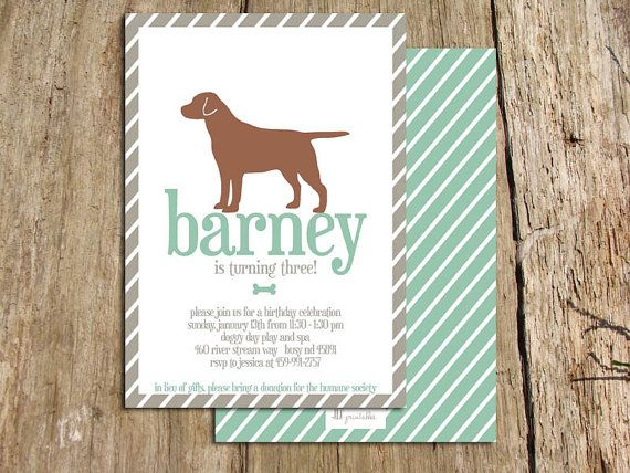 printable boy dog birthday party invitation customize with your breed and colors shown in - Dog Birthday Party Invitations