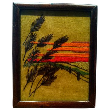 """Framed Needlepoint, $72, now featured on Fab. 1970s landscape needlepoint featuring fine detailing and great period colors. Framed under glass, backed, and ready to hang. This gently used vintage product is in good condition. Shows some signs of age.      * Care Keep from direct sunlight.     * Finish Semi-Gloss     * Material Wood, Glass, Yarn     * Origin United States     * Color Green, Brown     * Measurements H 7"""" W 6"""" D 1""""     * Weight 1 lbs"""
