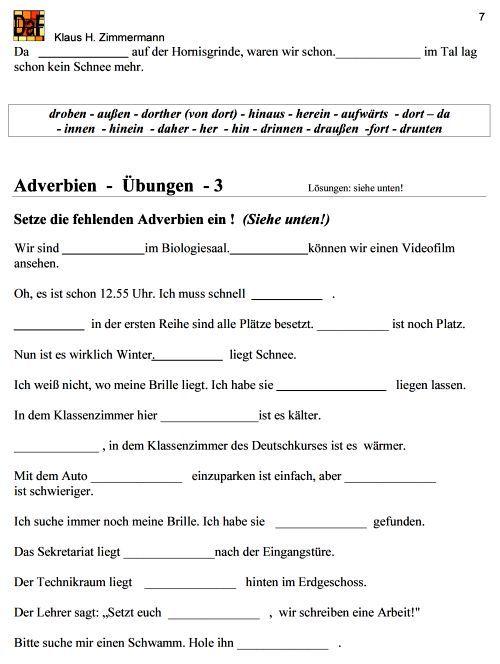 Deutsch als Fremdsprache DaF DaZ Grammatik - Adverbien   deutsch ...