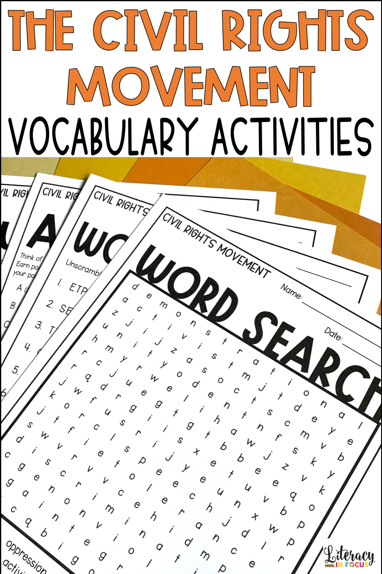 Civil Rights Movement Vocabulary Activities Martin