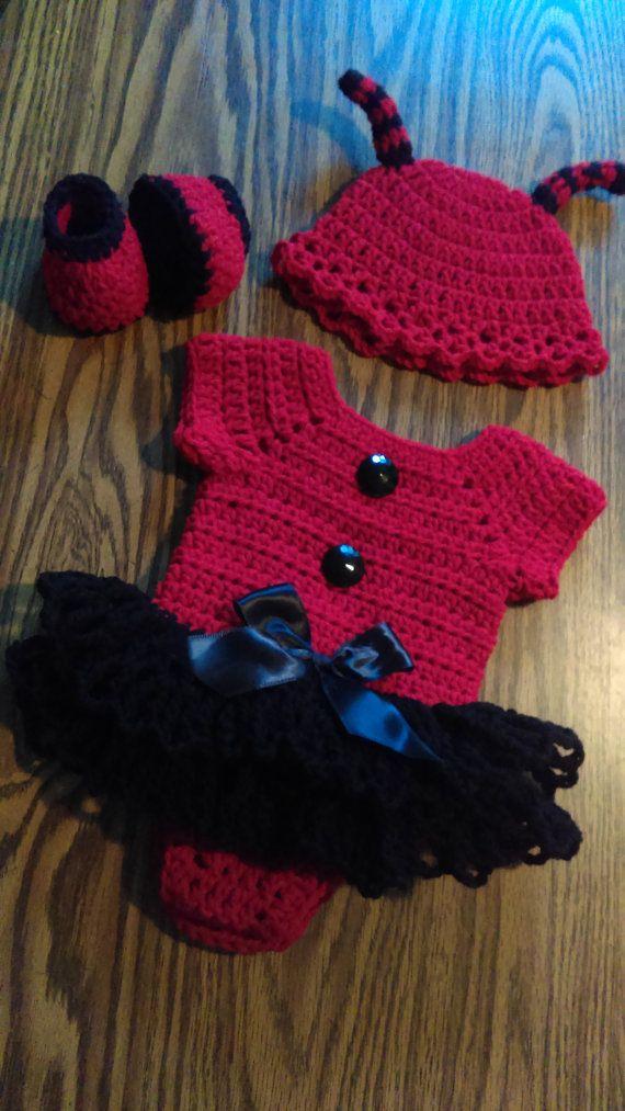 Little ladybug crochet baby dress onsie set by BabyBeautiful801 More ...