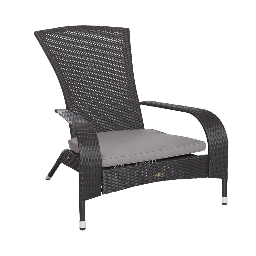 Patio Sense Coconino Black Wicker Plastic Adirondack Chair With Gray Cushion 62430 Lounge Chair Outdoor Outdoor Furniture Wicker Chair