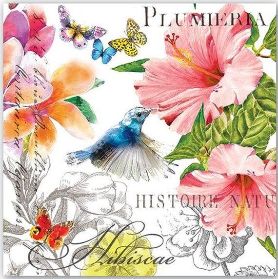 2 Serviettes en papier Colibri /& Fleurs Paper Napkins Flowers /& Hummingbird
