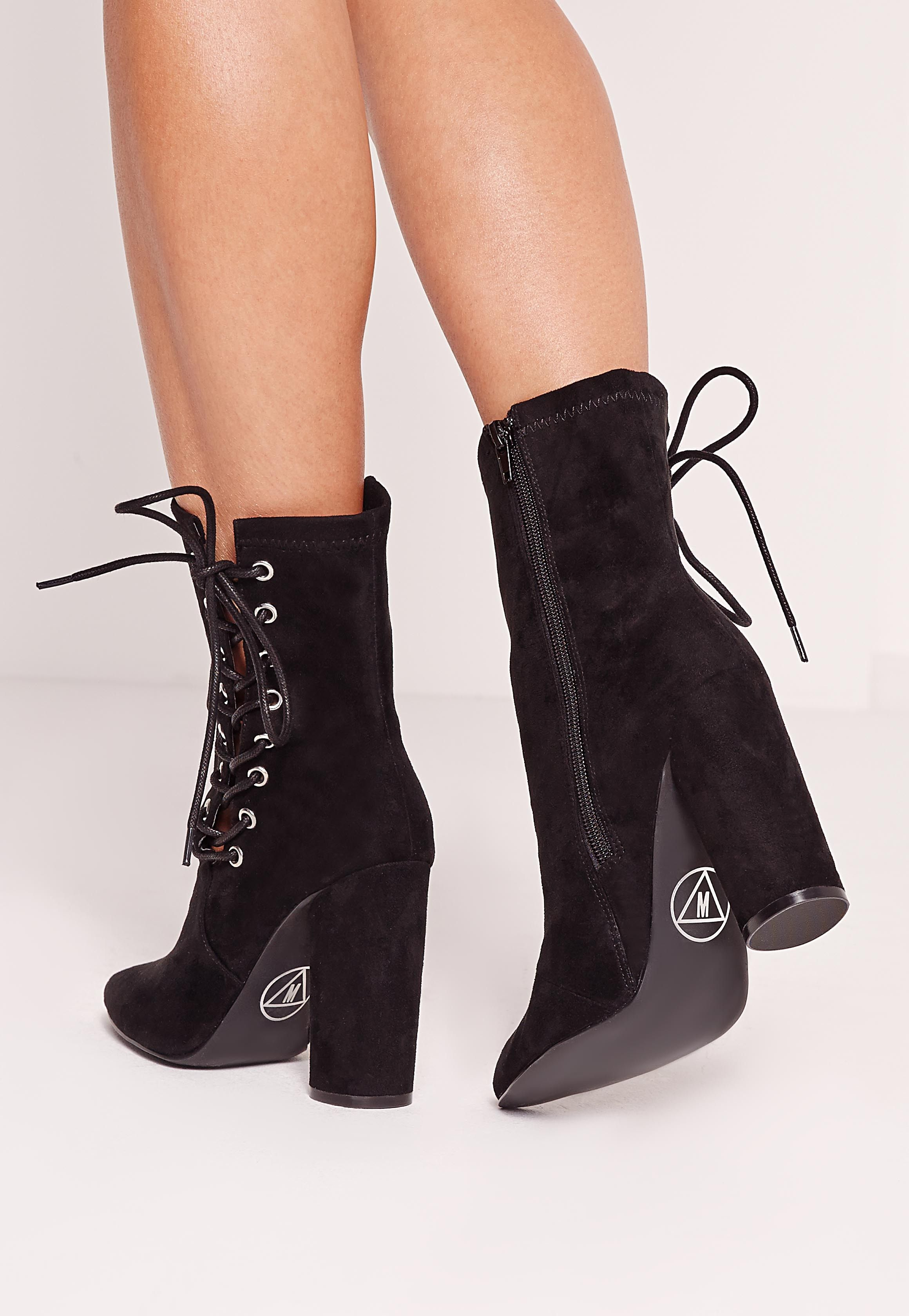 8876c5d15f8e Missguided - Black Faux Suede Eyelet Lace Up Heeled Ankle Boots ...
