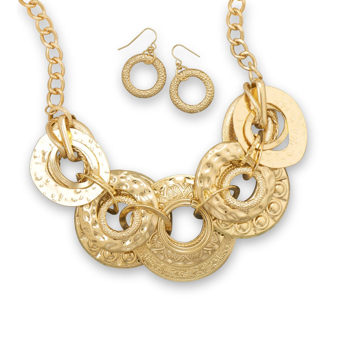 Scareflair streets of gold fashion necklace and earring set