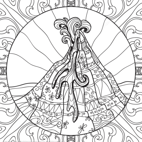 Volcano Zentangle coloring page from Zentangle category Select