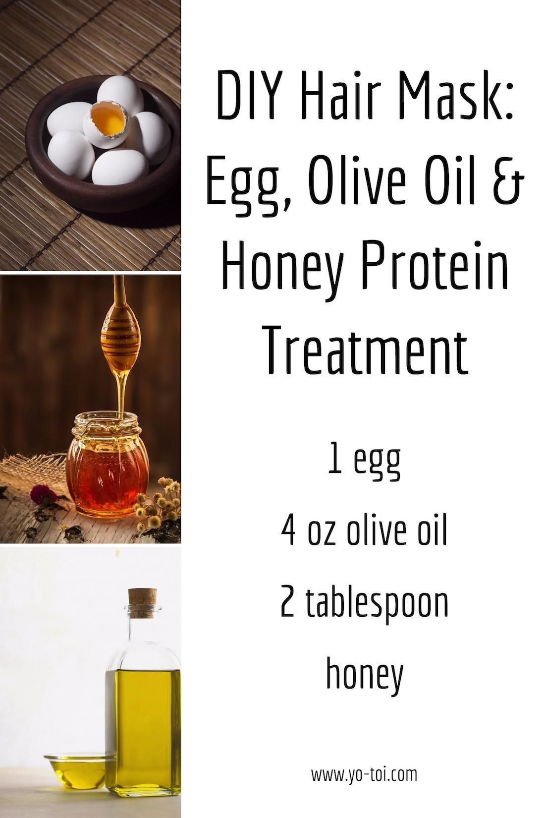 DIY Hair Mask Egg, Olive Oil & Honey Protein Treatment