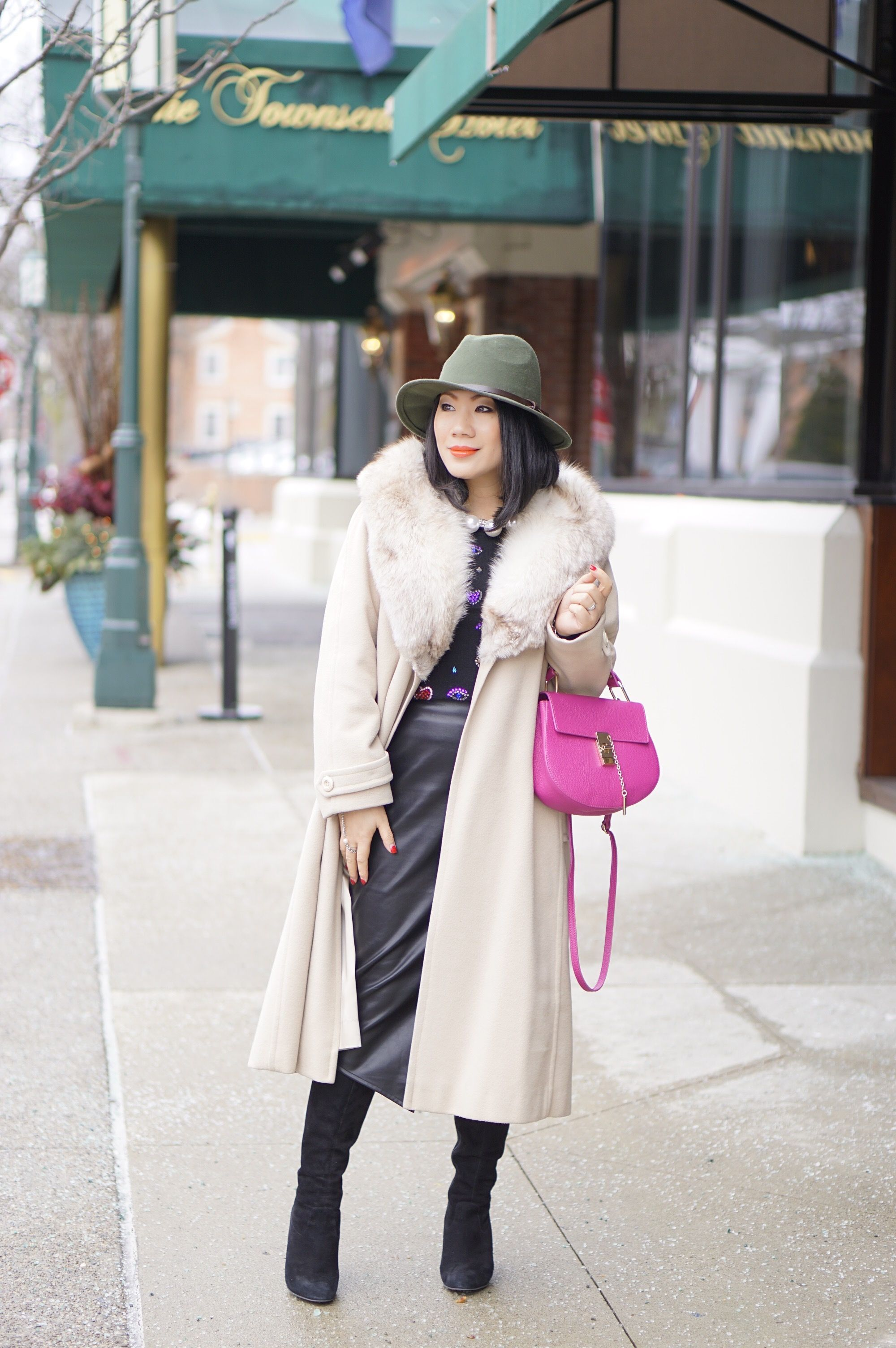 Petite fashion winter street style   cream fur coat   olive hat  ...