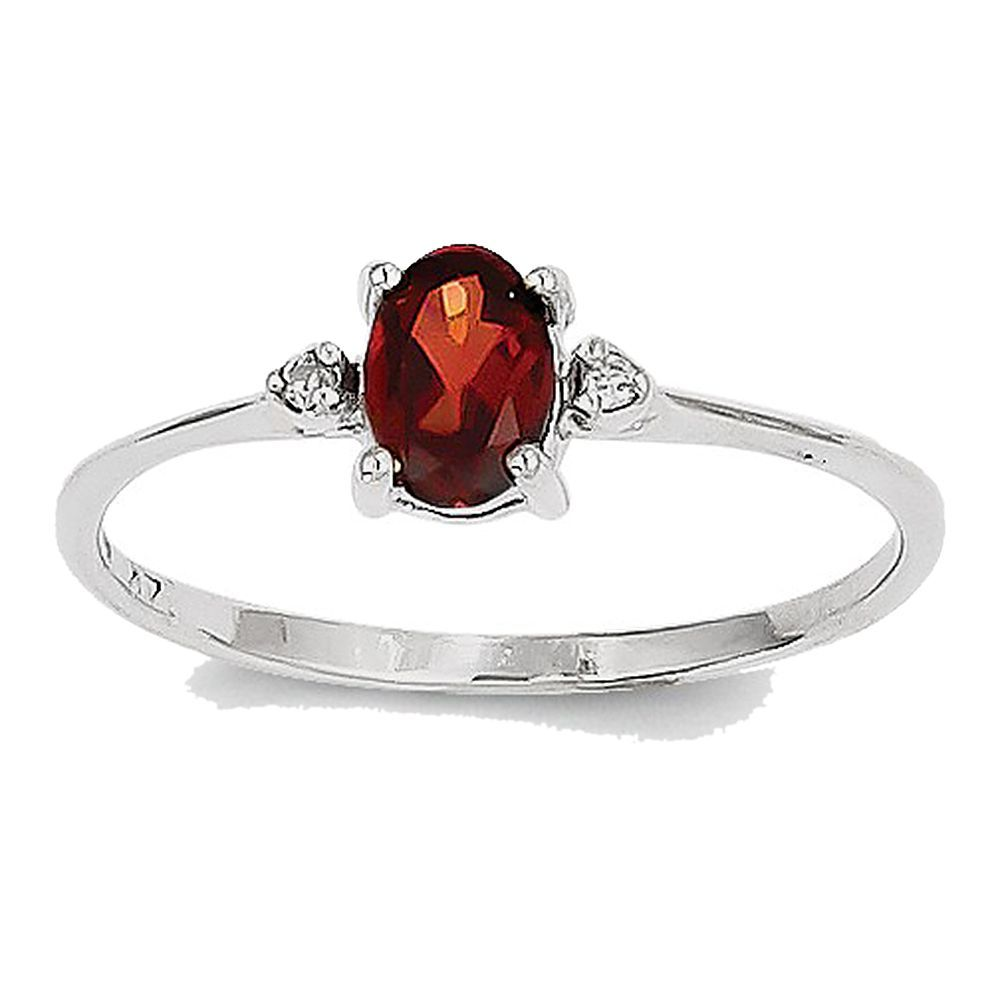 14k White Gold Prong Set Faceted Oval Cut Garnet and Diamond Ring: Size: 6