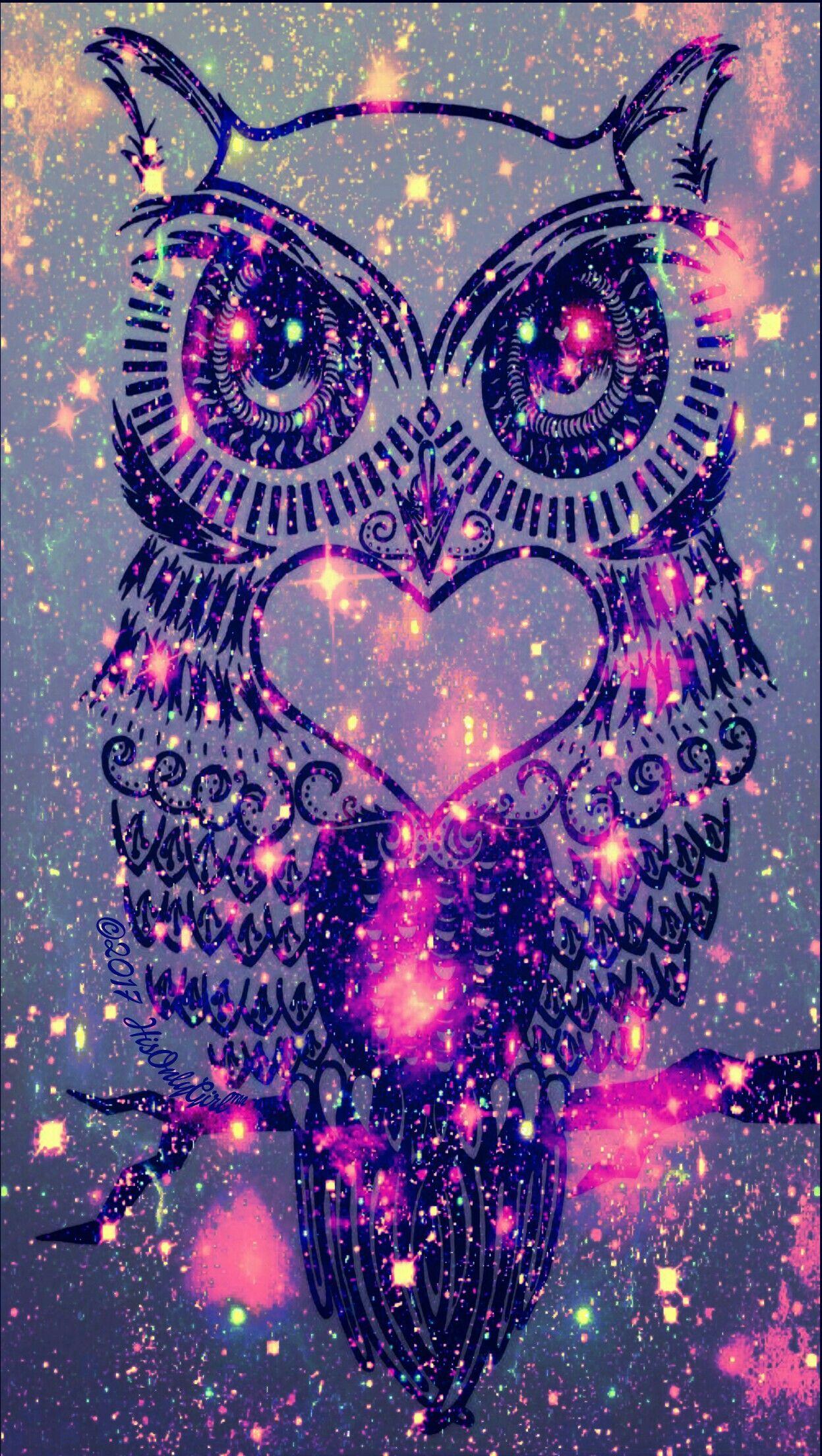 Dark Owl Galaxy Wallpaper I Created Eulen Eulendeko Pinterest